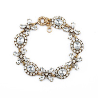 Free Shipping Fashion Accessories Full Clear Crystal Flower Bracelet & Bangles For Women