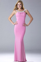 E0260 Sexy sequins beaded top chiffon halter backless dress