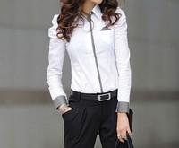 The new commuter Miss Han Ban long-sleeved shirt bottoming shirt Puff Professional Women Free Shipping