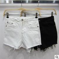 2014 new summer vintage sexy women denim jeans shorts high waist plus size feminino black white hot tassel short pants KR564