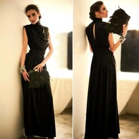 Sexy Long Maxi Prom Gown Summer Dress to the Floor Evening Elegant Party Pleated black Women New 2014 Novelty high street A307