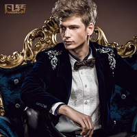 Royal men's clothing 2014 spring new arrival male suit embroidery male formal dress velvet blazer 14002