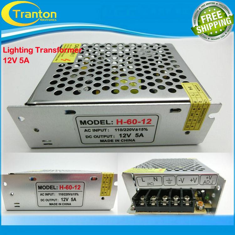 12V 5A 60W 110V-220V Lighting Transformers high quality safy Driver for LED strip 3528 5050 power supply(China (Mainland))