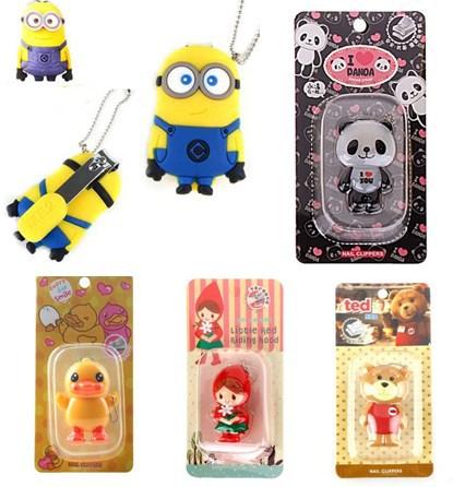 wholesale Fashion Cute 5 designs Panda Duck Girl Despicable Me Bear Nail Cutters nail scissors Key Chain Mobile Chain(China (Mainland))