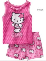 2014  kids summer cotton short  pajamas set baby costumes children fashion cartoon sleepwear baby homewear