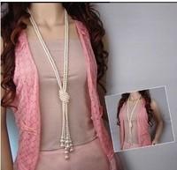 free shipping 2014 new design fashion All-match Korean fashion pearl multi knot sweater chain necklace,fashion jewelry