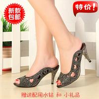 new 2014 summer open toe rhinestone high-heeled slippers female crystal sandals women slippers fashion flips, free shipping