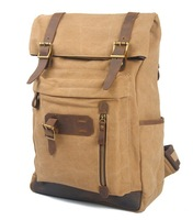 2014 new retro cotton canvas bags with the first layer crazy horse leather backpack