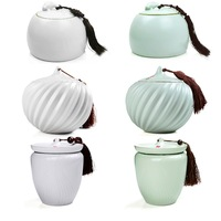 Tea caddy Large ru sealed cans storage ceramic storage jar hat