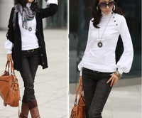 6544 Free shipping! Korean version of the new Slim lanky neck long-sleeved T shirt Women lanterns
