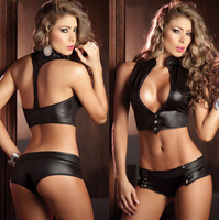 New 2014 arrival pole club dance costume sexy lingerie faux leather 2 colors bikinis sets halloween cosplay free shipping