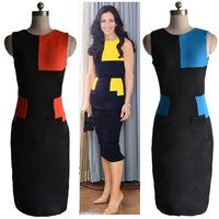 2014 fashion summer women dress patchwork pockets  pencil sheath sexy dress work party Celebrity dress sleeveless Knee length