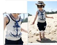 5 pces children's/kids Summer clothes boys clothing marine top tops with cap + pants boy 2 pces set