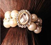 Popular DIY Wholeslae 6pcs/lot Retail Korea Hair Band Elastic Pearl Hair Ring Diamond Hair Rope Hair Accessory