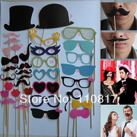 36pcs On A Stick Mustache Photo Booth Props Wedding Birthday Party Fun Favor Free Shipping