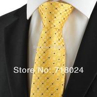New Graphic Golden Yellow Men's Tie Suit Necktie Wedding Party Holiday