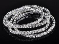 10pcs 1 Row Full Clear Crystal Elastic Wedding Bridal Bracelet Bangle Wristband 100% brand new