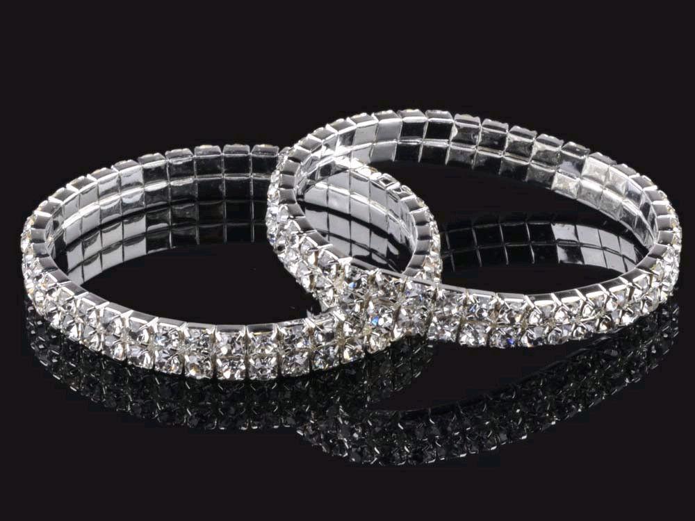 10pcs 2 Rows Full Clear Crystal Elastic Wedding Bridal Bracelet Bangle Wristband 100% brand new(China (Mainland))