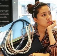 Best-selling DIY Wholeslae Retail 12pcs/lot Korea Beads HeadBand Double Layer Elastic Hair Band Hair Accessory