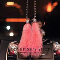 Quality fox fur rhinestone car hangings car fashion crystal diamond decoration auto supplies the car