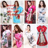 Rayon silk dress for women sleepwear 15 styles flower printed women nigthgown   fiber silk pajamas women 2014 summer sleeping