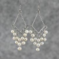 Natural freshwater pearl tassel earrings women ol handmade earring drop earrings accessories