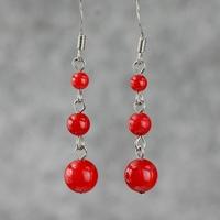 Red earrings women festive wedding gifts national trend vintage earring drop earrings accessories