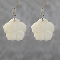 White shell small flower earrings women handmade earring accessories