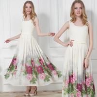 New Fashion Summer Women's Dresses 2014 Square Collar Sleeveless Slim Waist Peony Flower Elegant Female Full dress