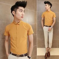 Fashion high quality solid color collar jacquard male slim yellow short-sleeve shirt 1111