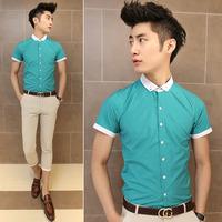 Fashion high quality color block chain male slim print dot green short-sleeve shirt 1103