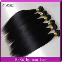 "OM Hair: Queen Malaysian Straight Hair Extensions Human Virgin Hair Weave 5pcs Mix Length 8""-28"" 60g/pc #1b Cheap Price"