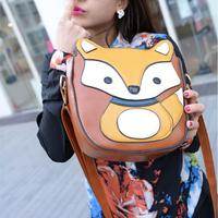 Small fox shaping bag patchwork bag PU bag messenger bag female handbag women's