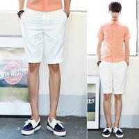 Male all-match elegant white easy care slim knee-length pants capris a998