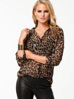 free shipping 2014 top spring  fashion spring women's leopard print loose sexy single breasted long-sleeve chiffon shirt  S-XXXL