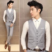 Fashion tighten buckle slim all-match male vest light gray groom vest 825