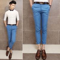 Fashion cotton fabric 100% fresh male multi-color all-match slim lake blue ankle length trousers pencil pants k002