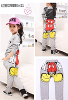 Kids girls clothing sets children's suit shirt+pants 2pcs autumn models girls sweater suit new Mickey sports wholesale 1lot=5pic