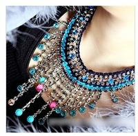 2014 newest Korean Style multicolor Rhinestone tassels Coolest Ethnic Trend Shourouk Chokers necklace Jewelry forl Women  XXL007