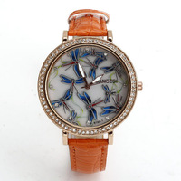 New Fashion Leather Rhinestone Watches, Women's Apparel Gift Watches Quartz Watches Dragonfly Pattern  Free shipping