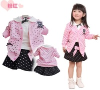 New Fashion Baby Girls Clothing Sets Infant Girl's Flower Coat +long T-shirt +Cotton Skirt 3PCS Set Girl's Clothing