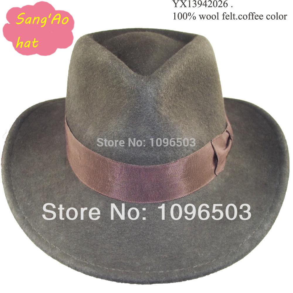 Wholesale Brown large brim floppy wool felt derby hats new lana formal hat Popular100wool felt wear as shepherd hat/festival(China (Mainland))