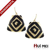 New Ethnic Women Black Enameling Gold Silver Plated Rock Drop Earrings Bijoux for Girls