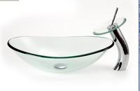 Ingot oval transparent glass wash basin tempered glass basin glass table basin wash basin