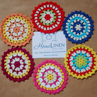 """New Arrival Cute Handmade Crochet Place mat Lovely Round Rainbow Doilies Vintage Coaster 11cm(4.33"""") Free Shipping"""