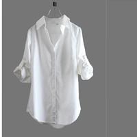 Brief White Shirt , 2015 Spring Female Slim Medium-Long Cotton Linen Long-Sleeve Shirt Solid Color
