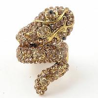 HOT!Wholesale Women/Girls  Popular Unique Silver Tone  Snake Animal Crystal Rhinestone Stretch Ring Fashion Jewerly