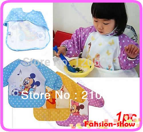S103 New Hot Cute Children Baby Todder Waterproof Long Sleeve Art Smock Bib Apron(China (Mainland))
