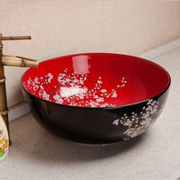 Art ceramic basin bathroom wash basin bathroom counter basin black and red circle