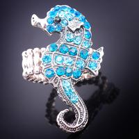 HOT SALE!Wholesale Women/Girls Popular Blue Pretty Cz Crystal Rhinestone Ocean Seahorse VTG Silver Tone Stretch Ring   Jewerly
